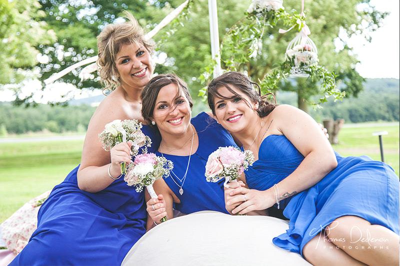 demoiselles d'honneur robe bleue
