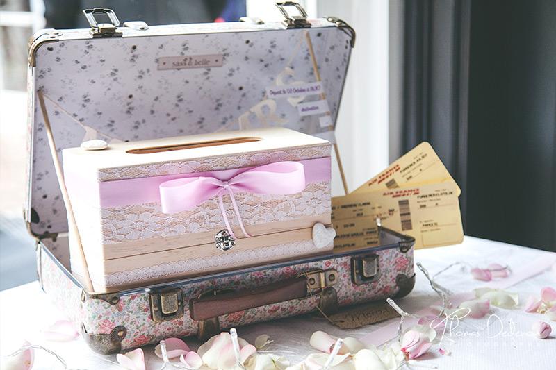 urne mariage valise dentelle