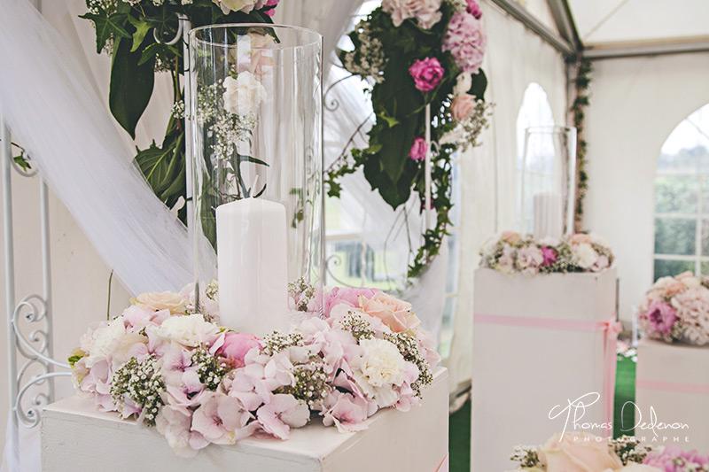 decoration florale rose et blanche
