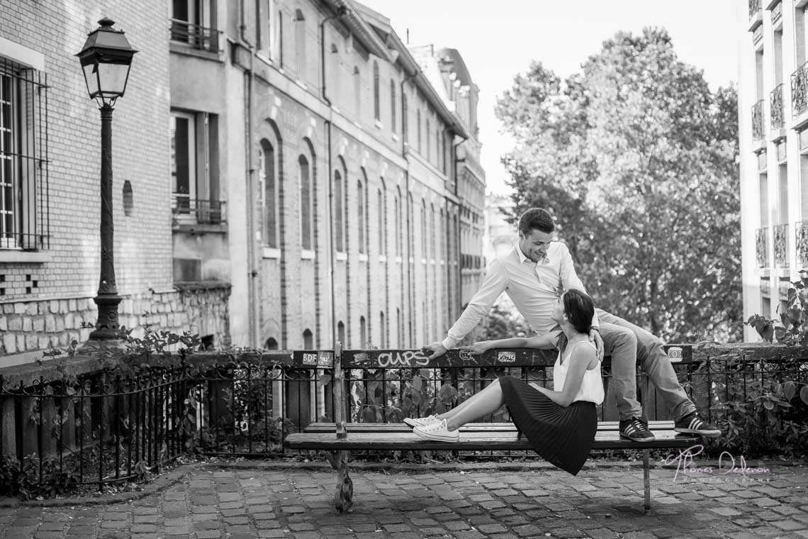 photo de couple banc public paris