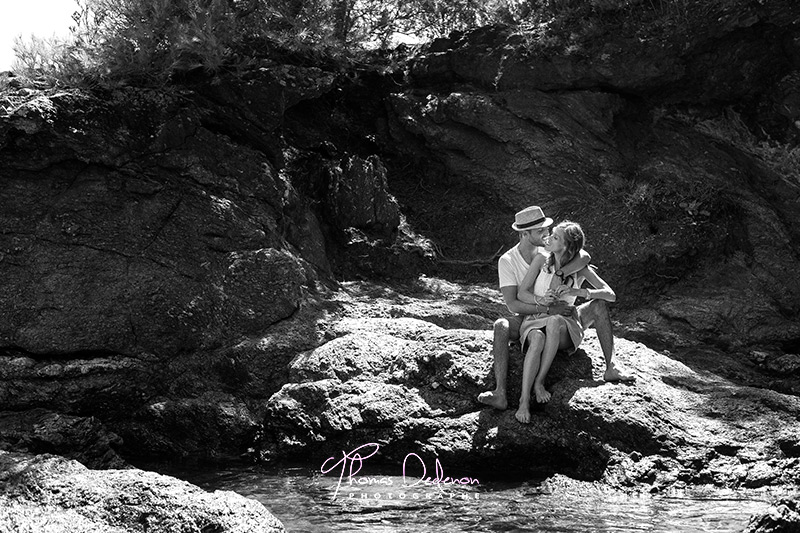 Photo de couple plage de pramousquier dans le var