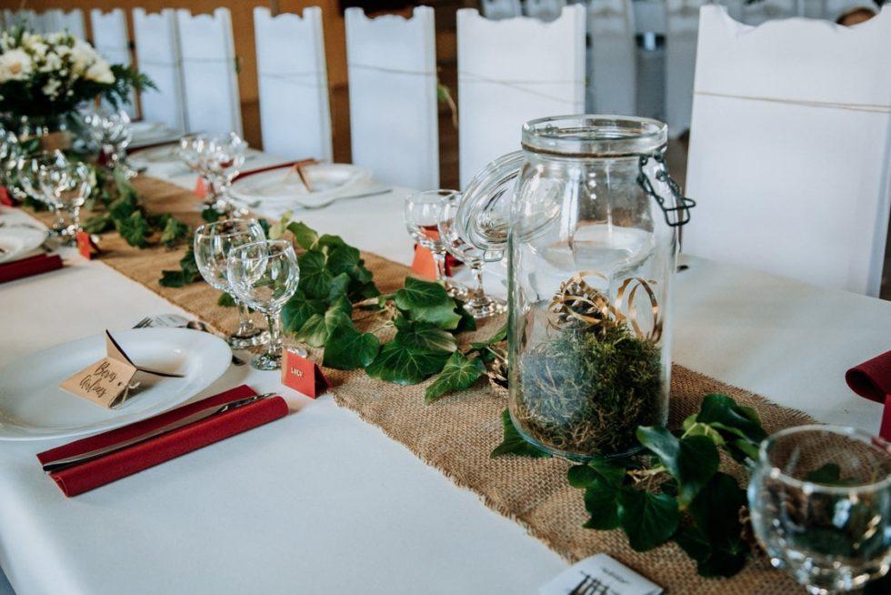 décoration de table de mariage lierre