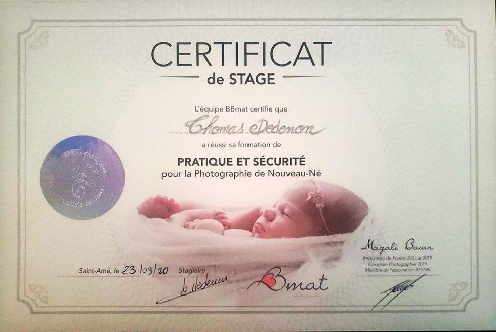 Attestation de sécurité photo de bébé